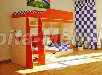 купить кровать для двоих детей со шкафом