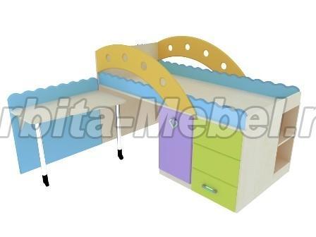 Как сделать детскую кровать с встроенным столиком и комодом