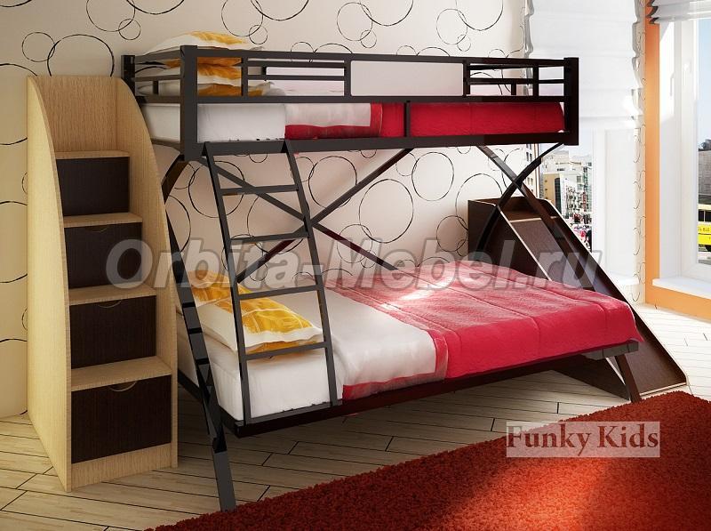 Кровать двухъярусную металлическую