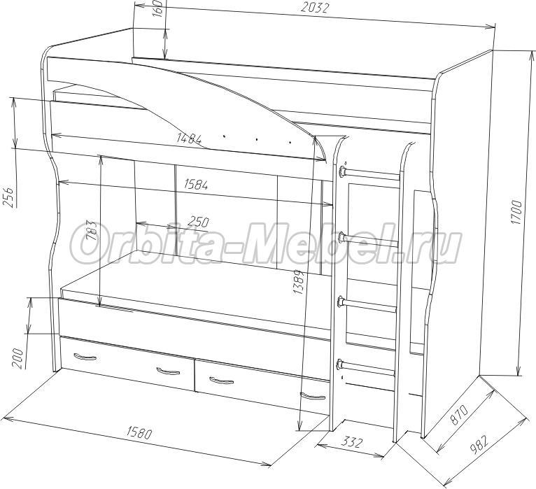 кровать Фанки Соло 4 схема