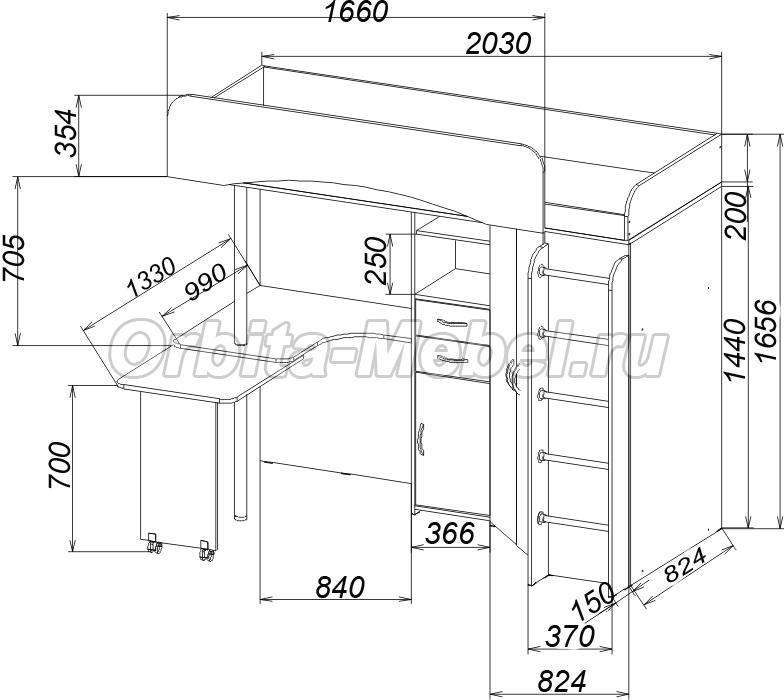 чертеж угловой кухни с размерами