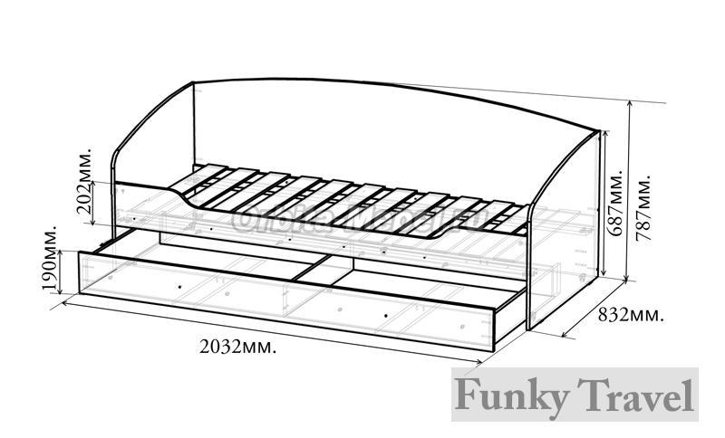 Чертеж кровати с выдвижными ящиками своими руками