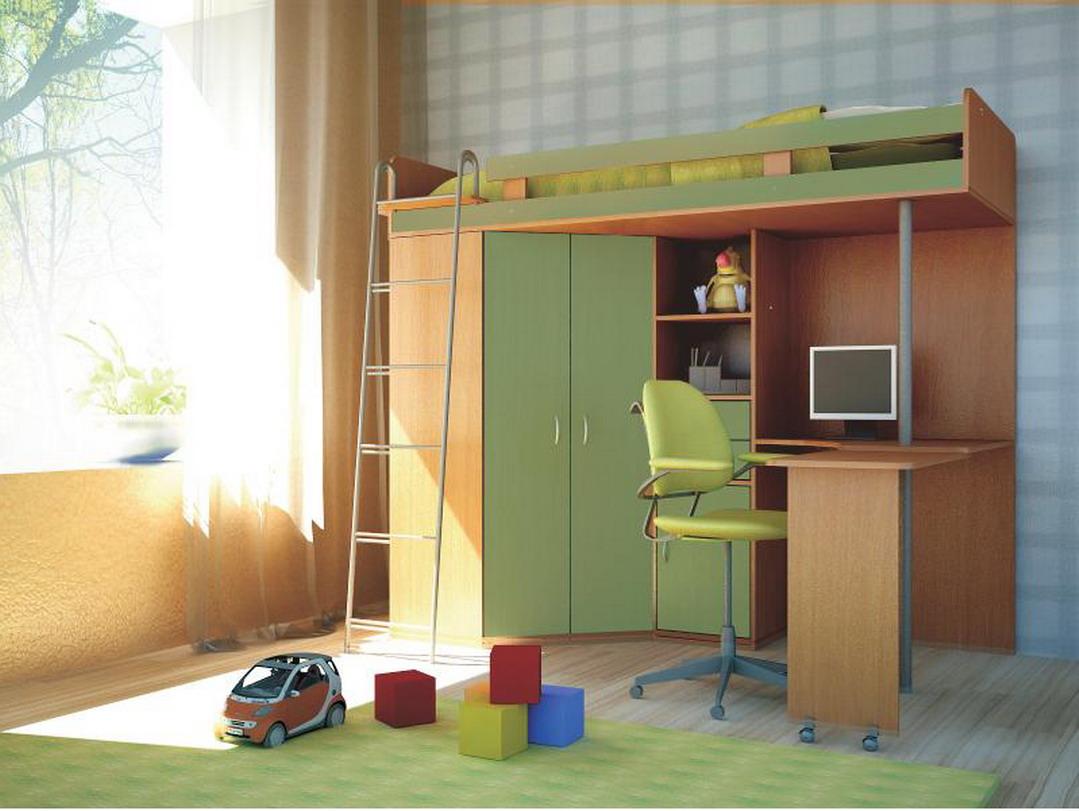 Детская мебель Орбита-1 Ольха/зеленый